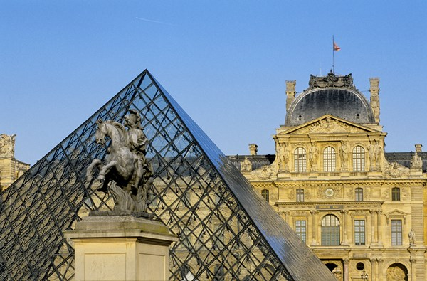 France, Paris, Louvre Museum, Pyramid by the architect Ieoh Ming Pei