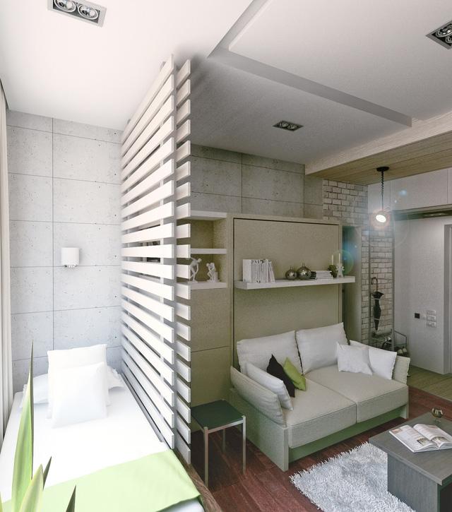 Màu trắng bao trùm toàn bộ thiết kế căn hộ với tường, giường, gạch ốp và một số phụ kiện khác đều màu trắng.