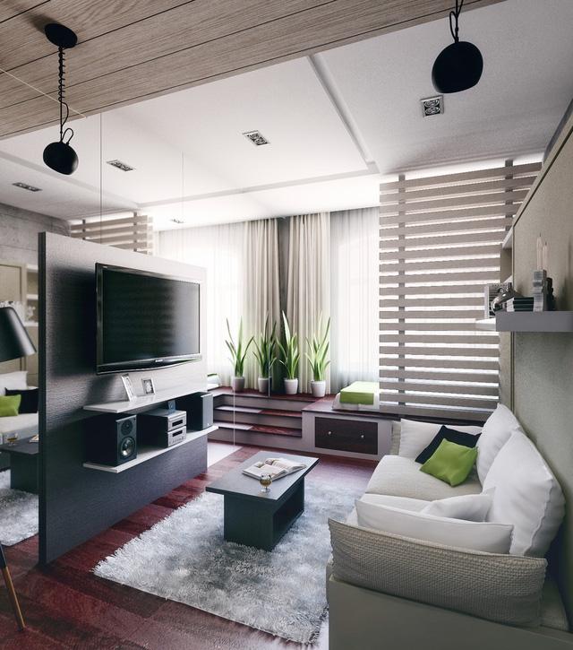 Tận dụng lợi thế trần cao (3 mét), chủ nhà thiết kế khung cửa sổ cỡ lớn giúp ánh sáng tự nhiên luôn tràn ngập, mang đến không gian sống thoáng mát, tươi sáng cho căn hộ.