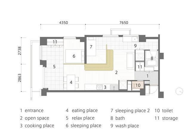 Đây là sơ đồ bố trí vô cùng khoa học toàn bộ căn hộ.