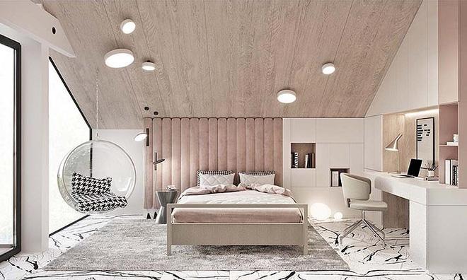 Phòng ngủ màu hồng vừa lạ vừa sang trọng - nội thất quận 1